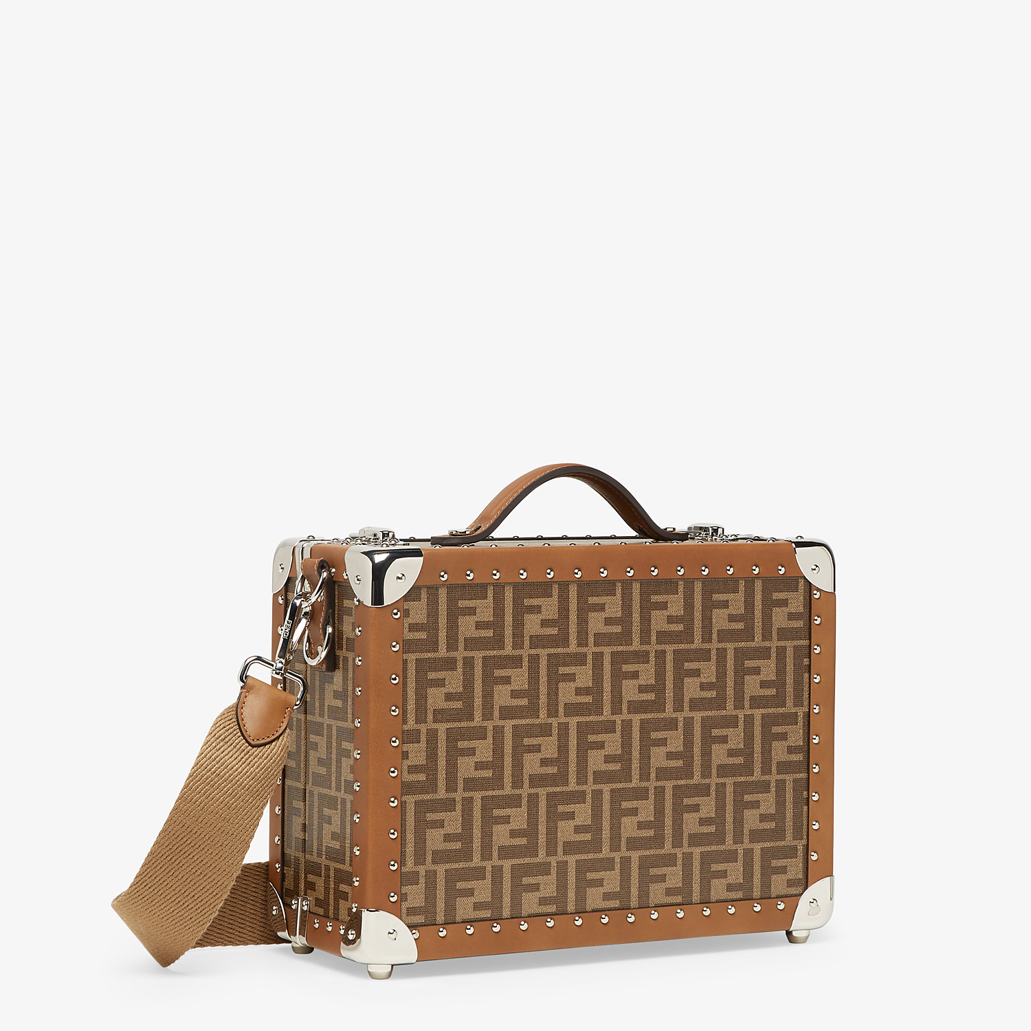 FENDI RIGID SUITCASE SMALL - Brown fabric suitcase - view 2 detail