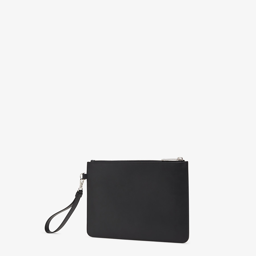 FENDI POUCH - Smooth black leather pochette - view 2 detail