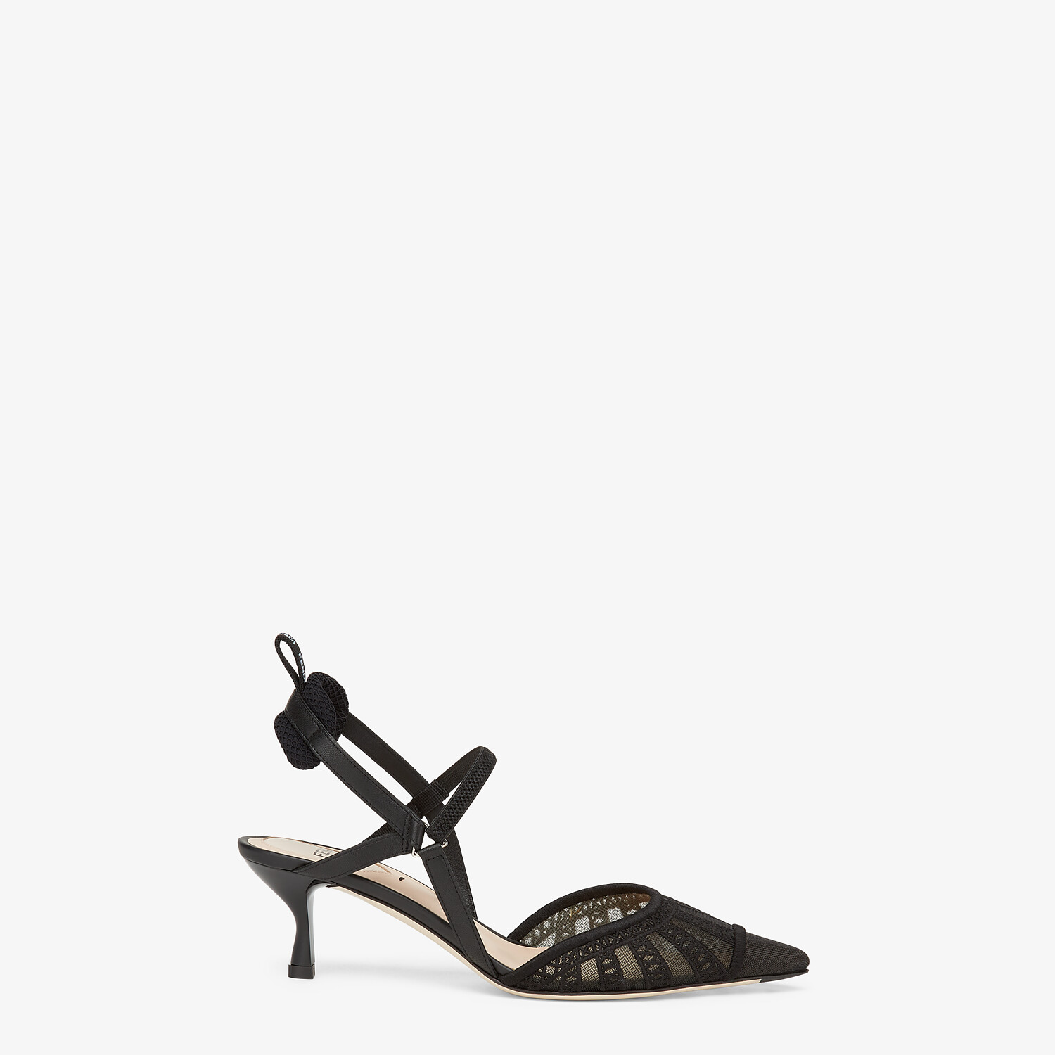 FENDI COLIBRI LITE SLINGBACKS - Black micro-mesh slingbacks - view 1 detail
