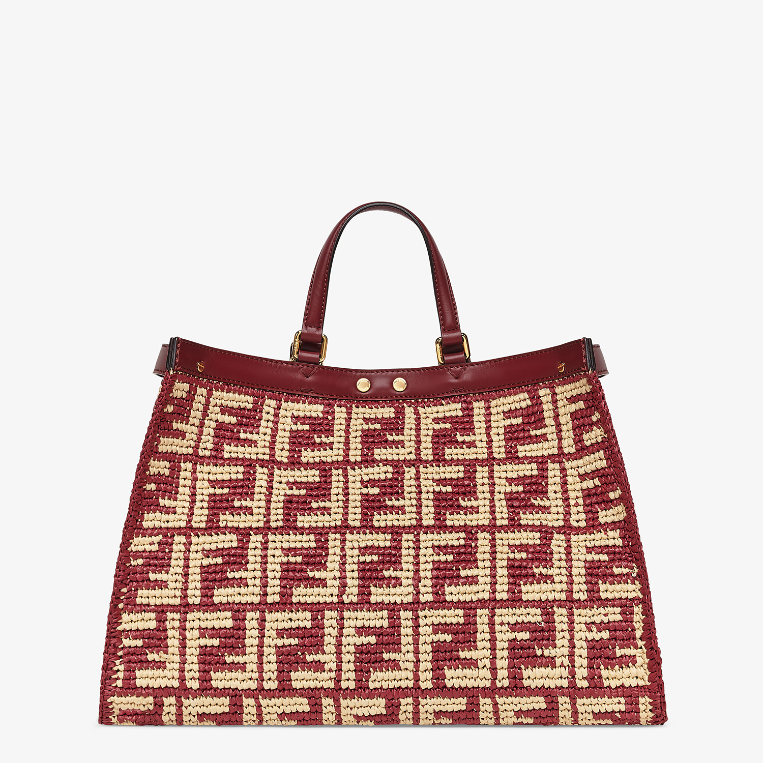 FENDI PEEKABOO X-TOTE - Burgundy FF raffia bag - view 4 detail