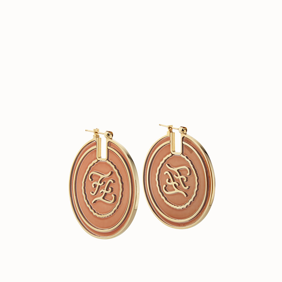 FENDI KARLIGRAPHY EARRINGS - Gold and red colored earrings - view 1 detail