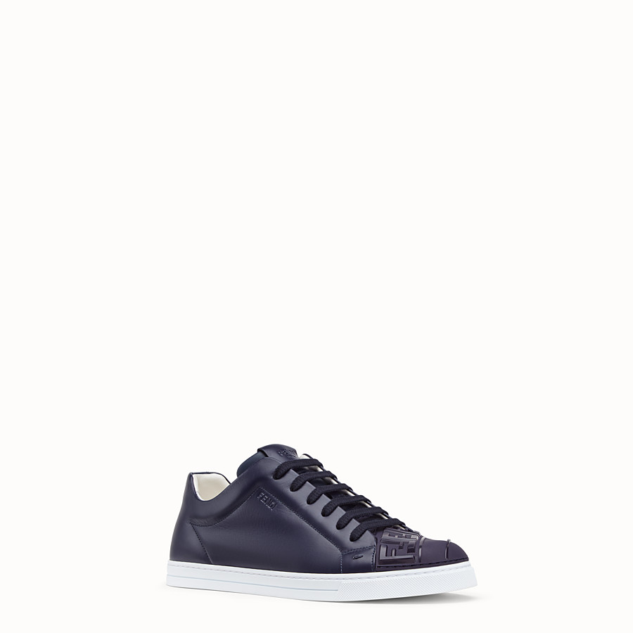 FENDI SNEAKERS - Blue leather low-tops - view 2 detail