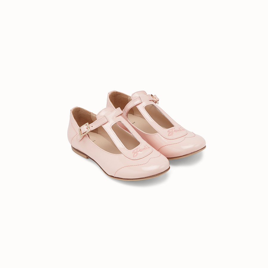 FENDI GIRL BALLERINAS - Pink patent leather chameleon ballerinas - view 2 detail