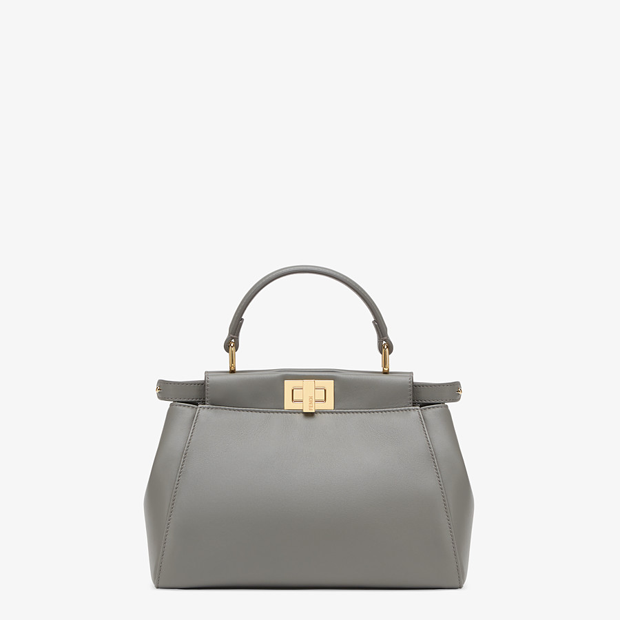 FENDI PEEKABOO ICONIC MINI - Grey nappa leather bag - view 1 detail