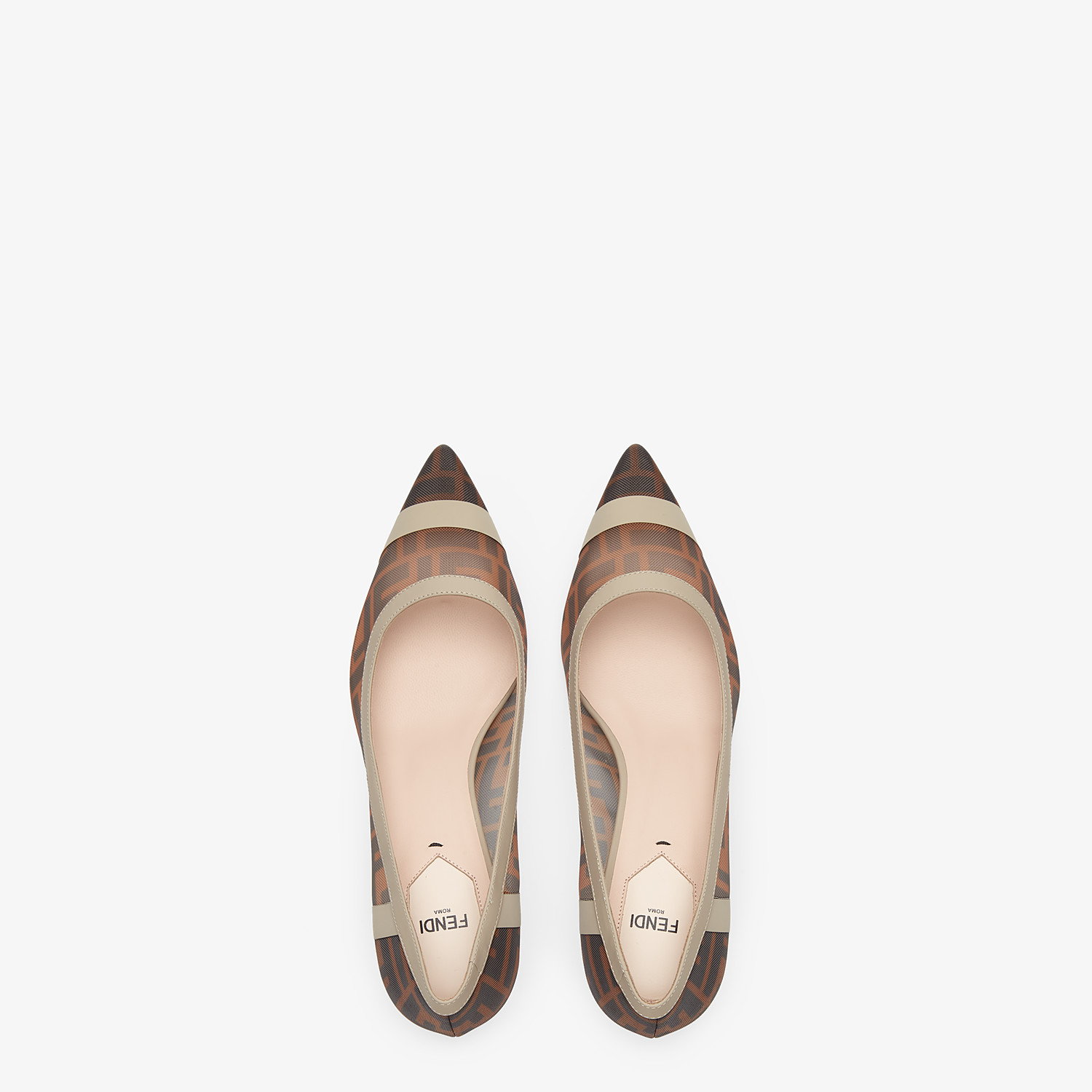 FENDI SLINGBACK - Court shoes in mesh and brown leather - view 4 detail