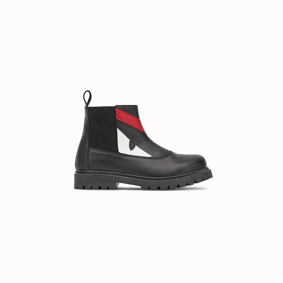 FENDI SHOES - Junior boy's black lambskin boots - view 1 detail