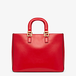 FENDI FF TOTE MEDIUM - Red leather bag - view 4 thumbnail