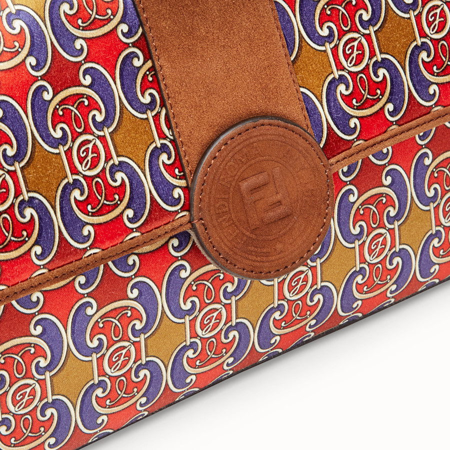 FENDI DOUBLE F - Multicolour suede and satin bag - view 5 detail