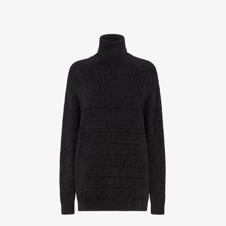 FENDI SWEATER - Black velvet sweater - view 1 detail