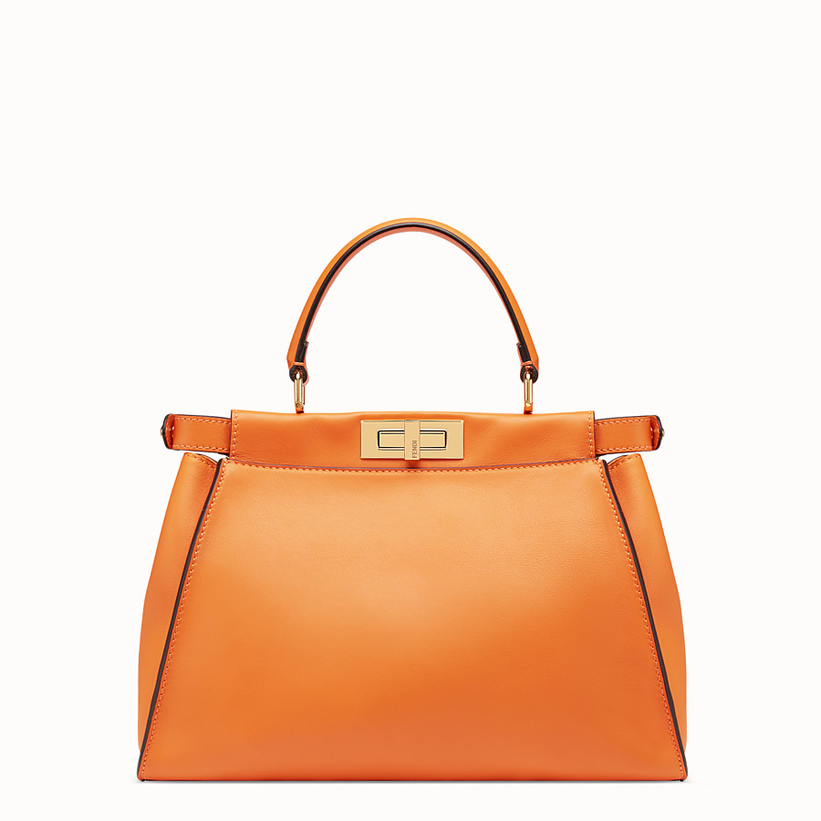 FENDI PEEKABOO REGULAR POCKET - Orange leather bag - view 4 detail