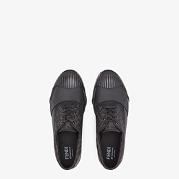 FENDI FENDI AND MOONSTAR SNEAKERS - Low-tops in canvas and black rubber - view 4 thumbnail