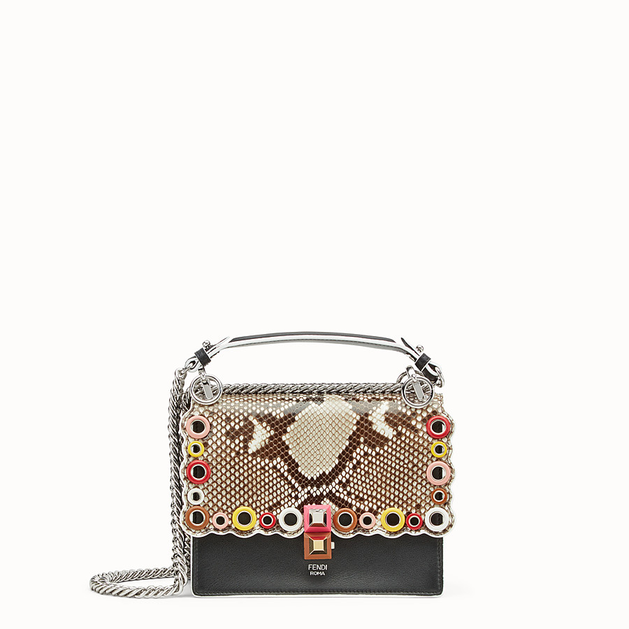 FENDI KAN I SMALL - Exotic black leather mini-bag - view 1 detail