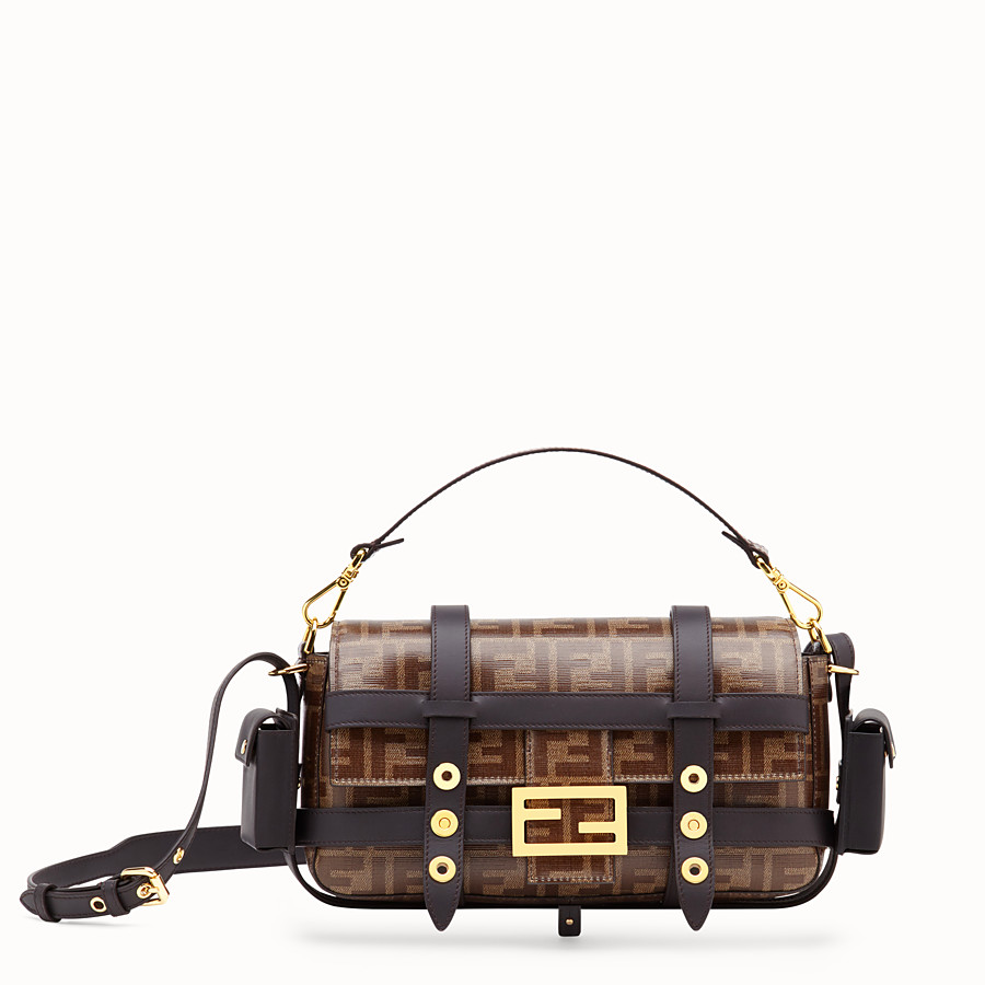 FENDI BAGUETTE WITH CAGE - Brown fabric bag - view 1 detail