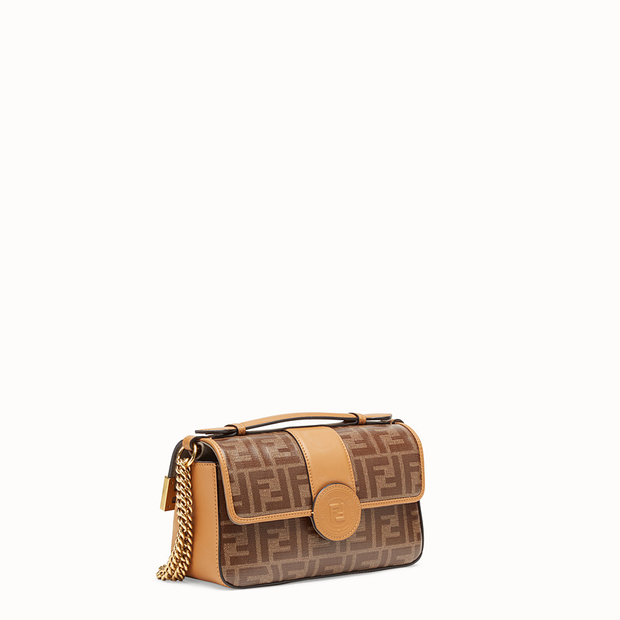 FENDI DOUBLE F SMALL - Brown leather and fabric bag - view 2 detail