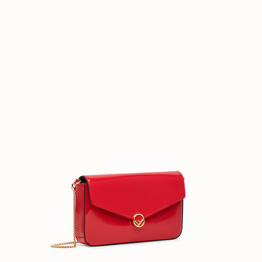 FENDI WALLET ON CHAIN WITH POUCHES - Mini bag in red patent leather - view 3 detail