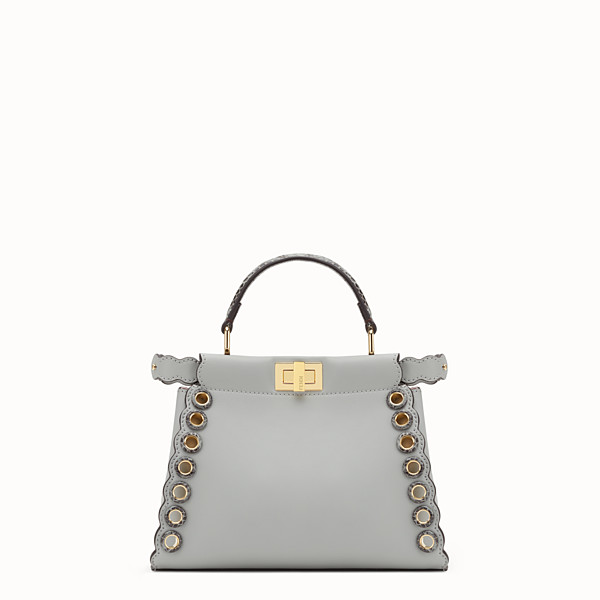 FENDI PEEKABOO MINI - Grey leather bag with exotic details - view 1 small thumbnail