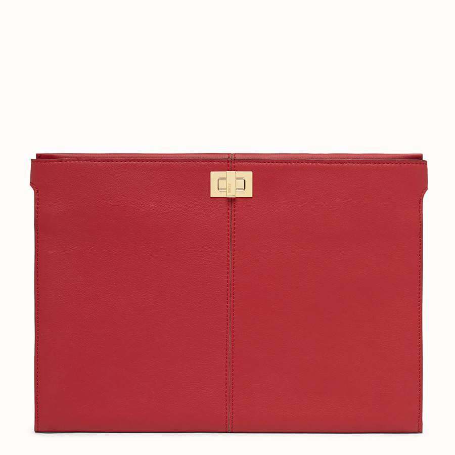 FENDI CLUTCH WALLET - Red leather clutch - view 1 detail