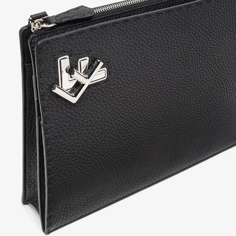FENDI MESSENGER - Black leather bag - view 6 detail