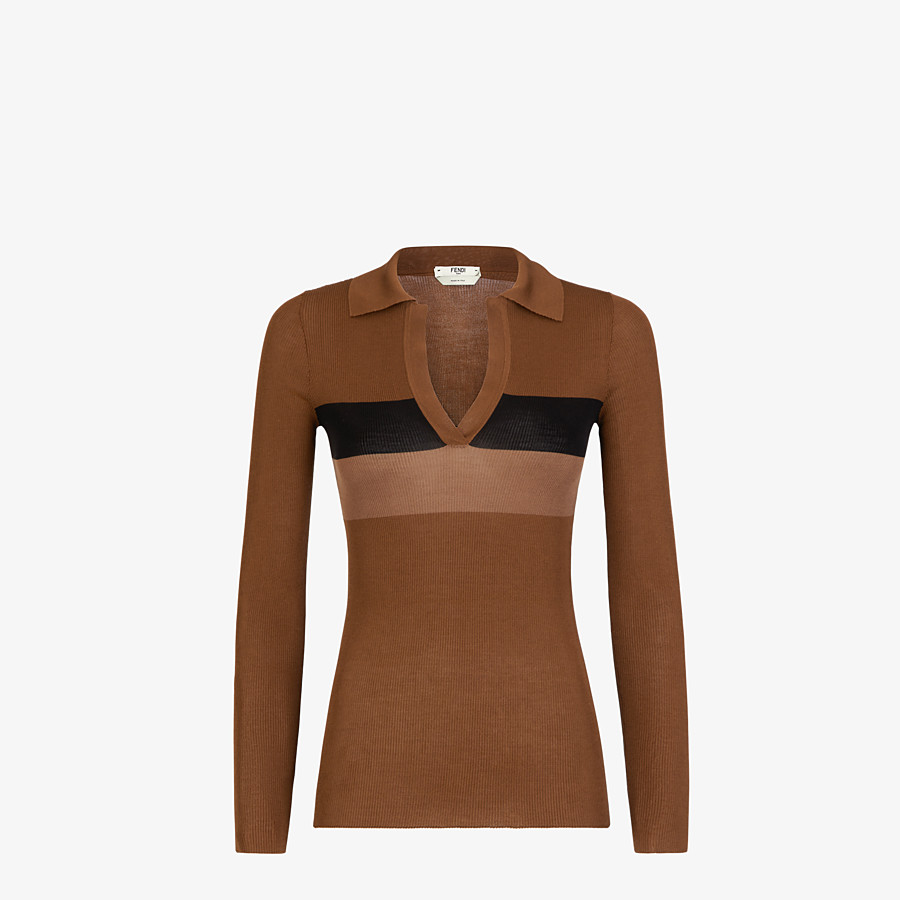 FENDI SWEATER - Brown silk sweater - view 1 detail