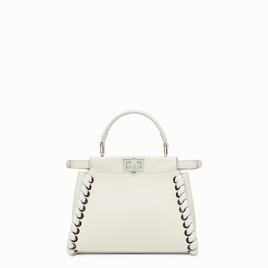 FENDI PEEKABOO MINI - White nappa handbag with weaving - view 3 detail