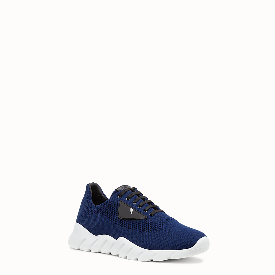 FENDI SNEAKERS - Blue fabric running shoes - view 2 detail