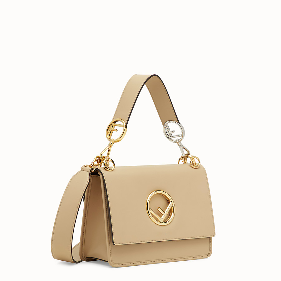 FENDI KAN I LOGO - Beige leather bag - view 2 detail