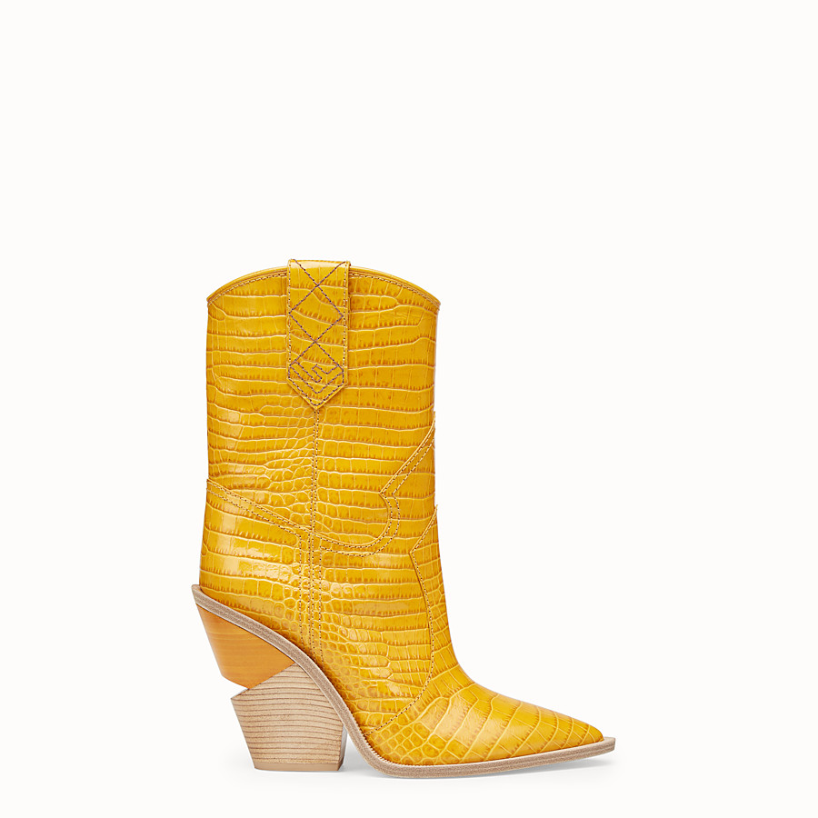 FENDI BOOTS - Yellow crocodile-embossed ankle boots - view 1 detail