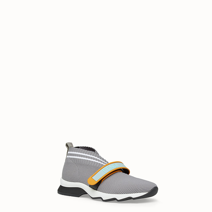 FENDI SNEAKERS - Gray fabric sneakers - view 2 detail