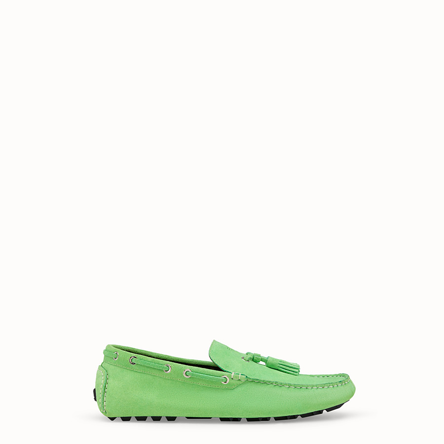 FENDI LOAFERS - Green leather drivers - view 1 detail