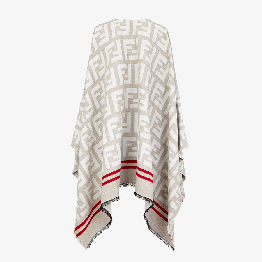 FENDI FF PONCHO - Multicolor wool and silk poncho - view 2 detail