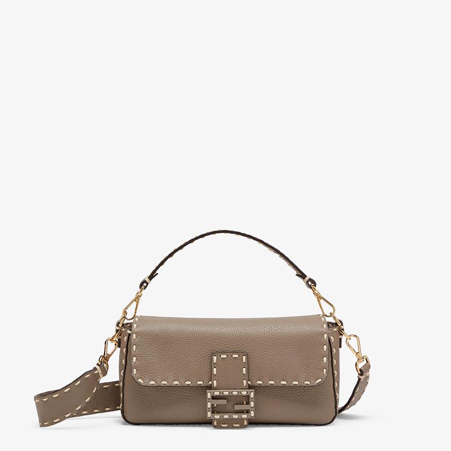 FENDI BAGUETTE - Gray full grain leather bag - view 1 detail