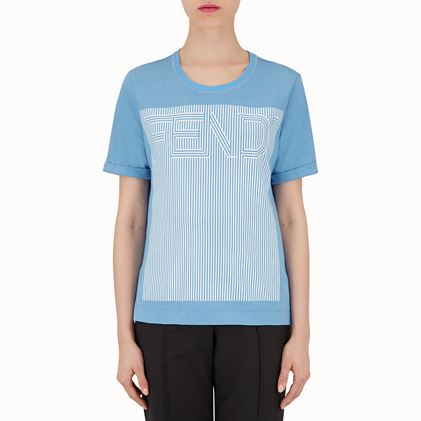 FENDI T-SHIRT À MANCHES COURTES - T-shirt en coton bleu clair - view 1 small thumbnail