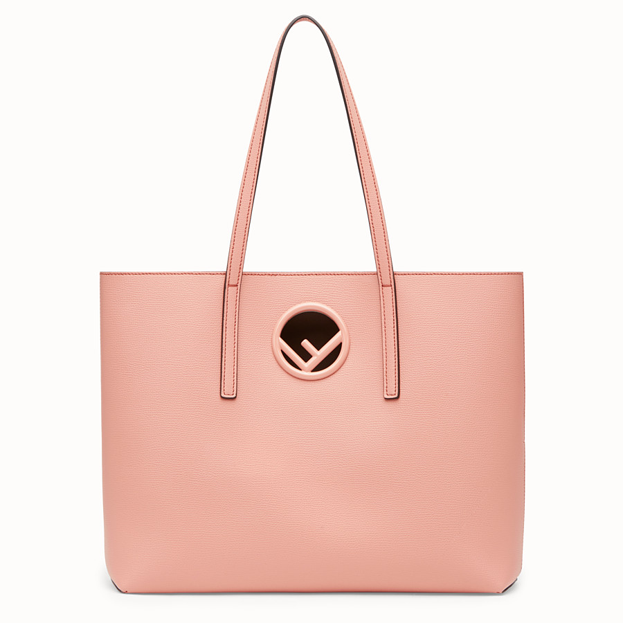 FENDI SHOPPING LOGO - Pink leather shopper - view 1 detail