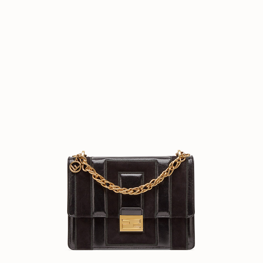 FENDI KAN U - Black leather and suede bag - view 1 detail
