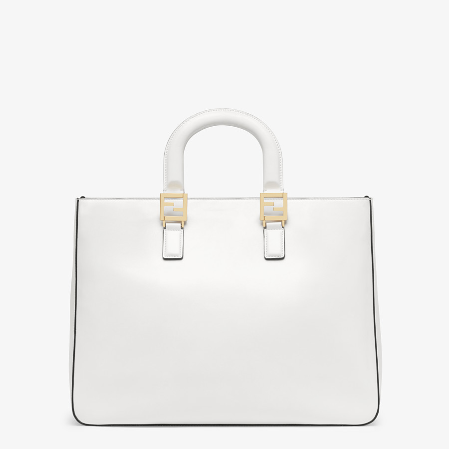 FENDI FF TOTE MEDIUM - White leather bag - view 4 detail