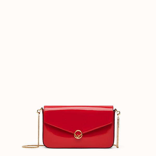 FENDI WALLET ON CHAIN WITH POUCHES - Mini bag in red patent leather - view 1 small thumbnail