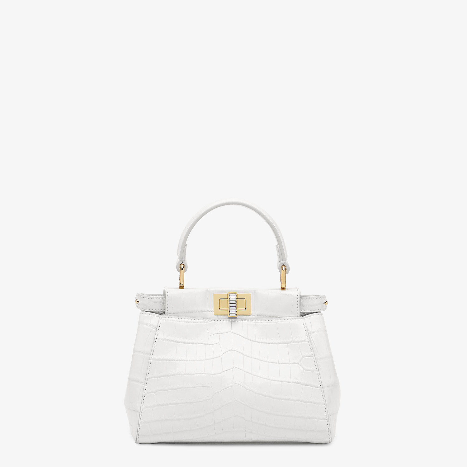 FENDI PEEKABOO ICONIC XS - Mini-bag in white crocodile - view 1 detail