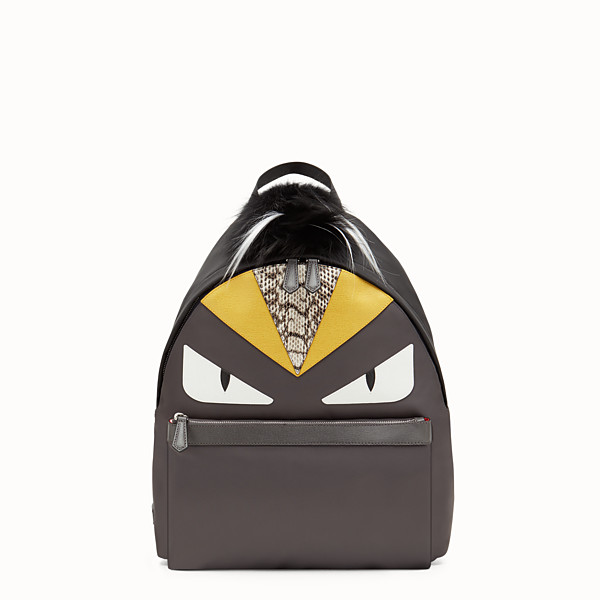 FENDI BACKPACK - in nylon and gray leather with inlays - view 1 small thumbnail