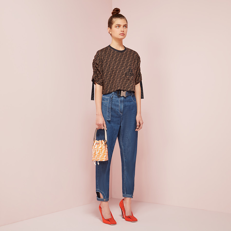 FENDI TROUSERS - Blue cotton jeans - view 4 detail