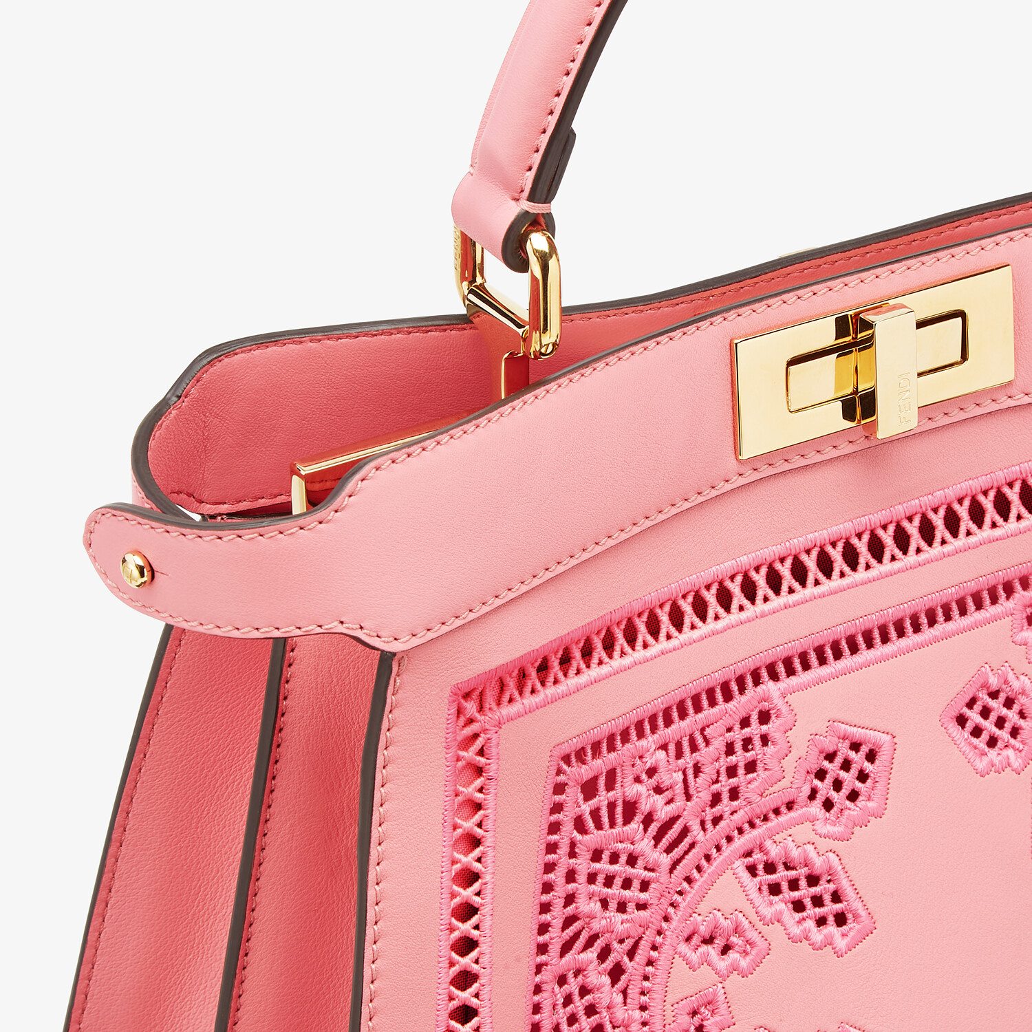 FENDI PEEKABOO ISEEU MEDIUM - Pink leather bag with embroidery - view 7 detail