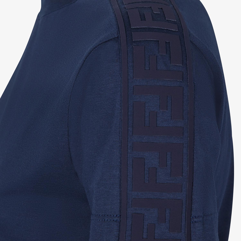 FENDI T-SHIRT - Blue cotton jersey T-shirt - view 3 detail