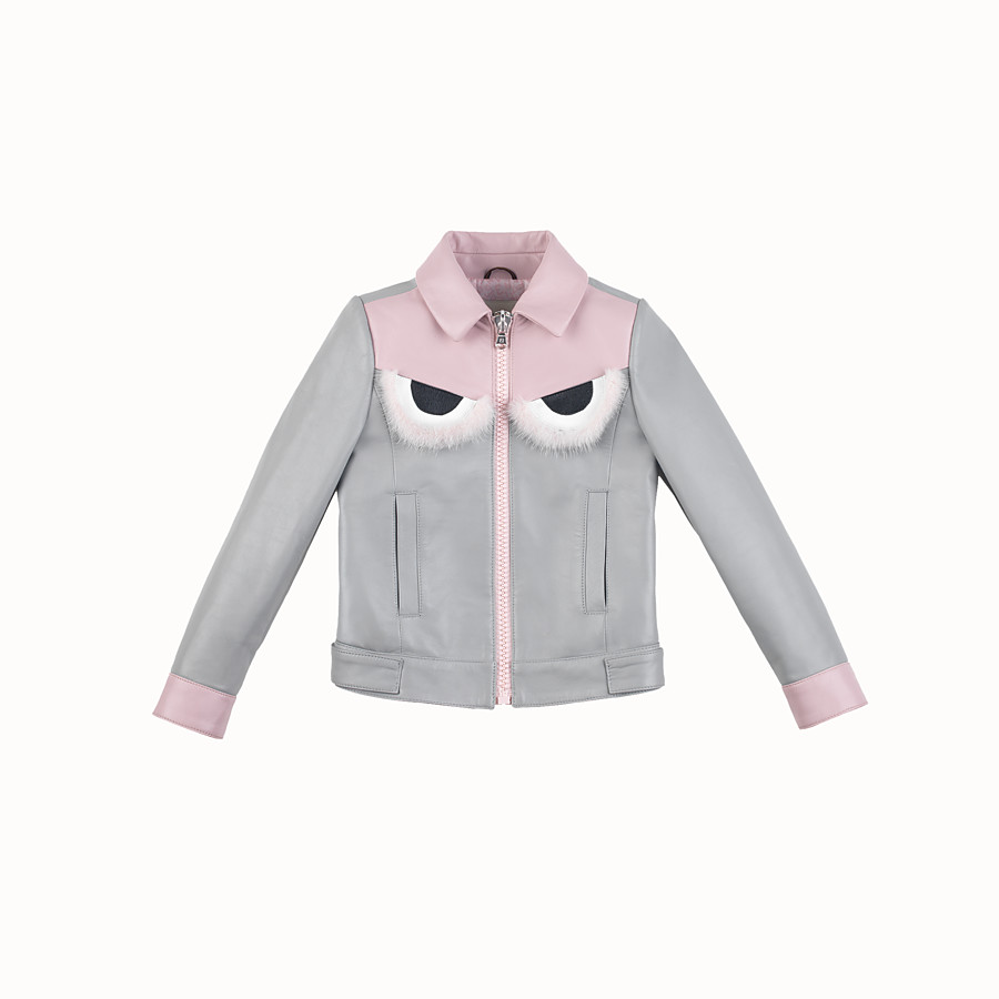 FENDI JACKET - in grey and pink leather - view 1 detail