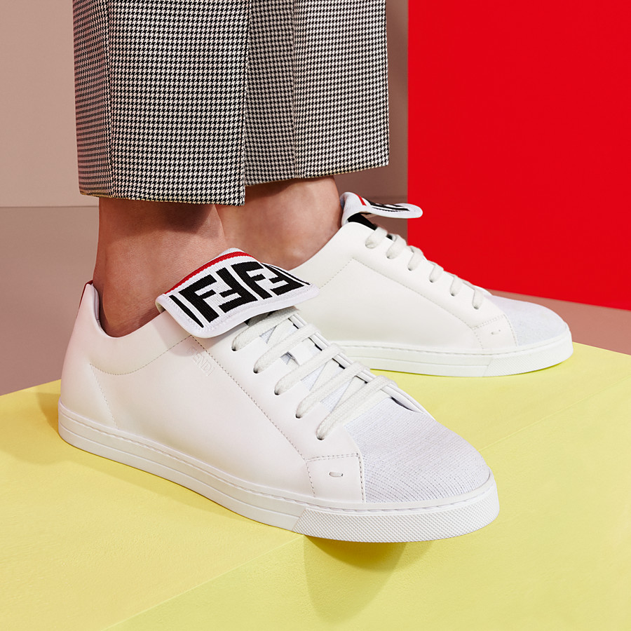FENDI SNEAKERS - White mesh and leather low-tops - view 5 detail