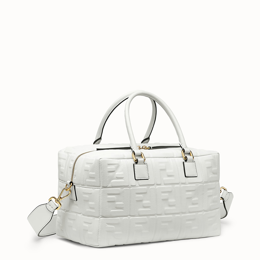 FENDI BOSTON PETIT - Sac Boston en cuir blanc - view 3 detail