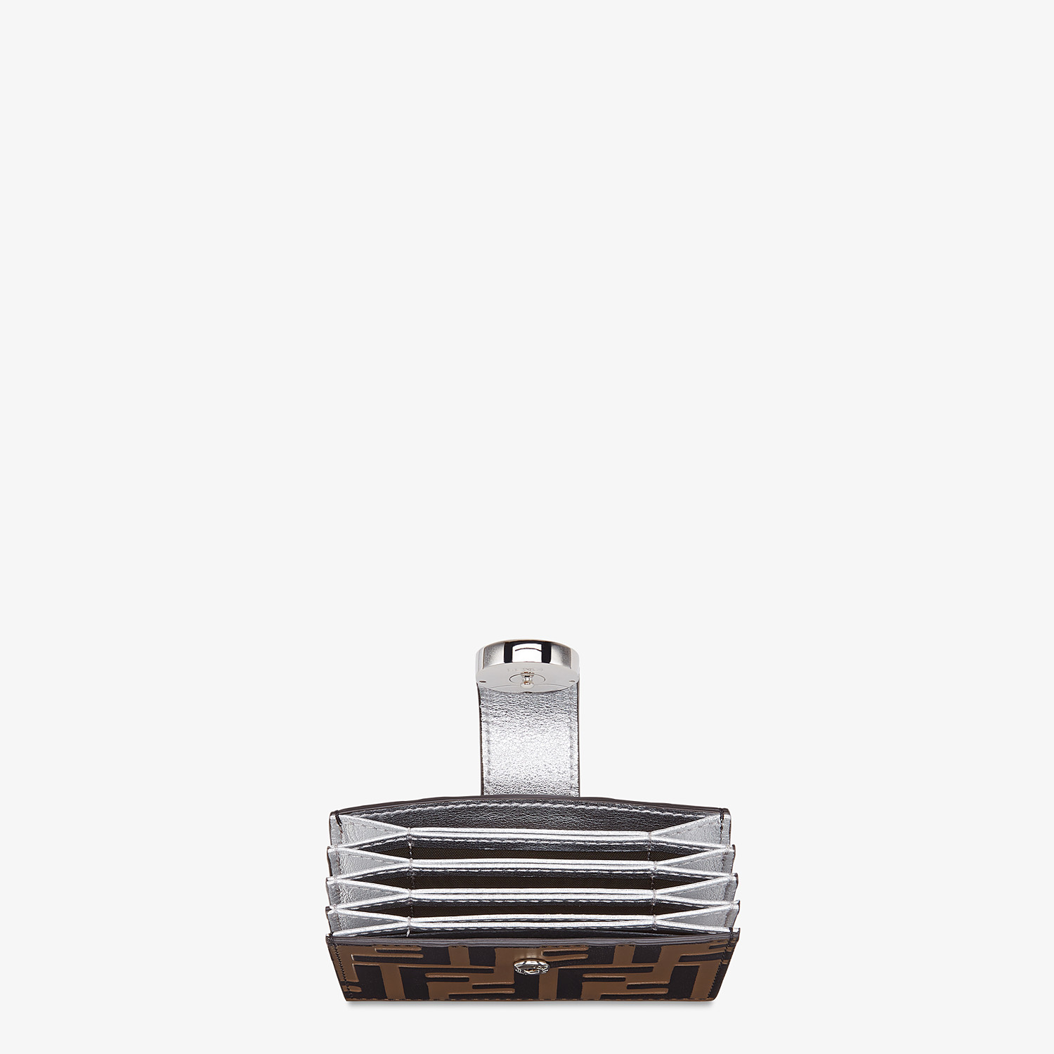 FENDI CARD HOLDER - Silver leather gusseted card holder - view 3 detail