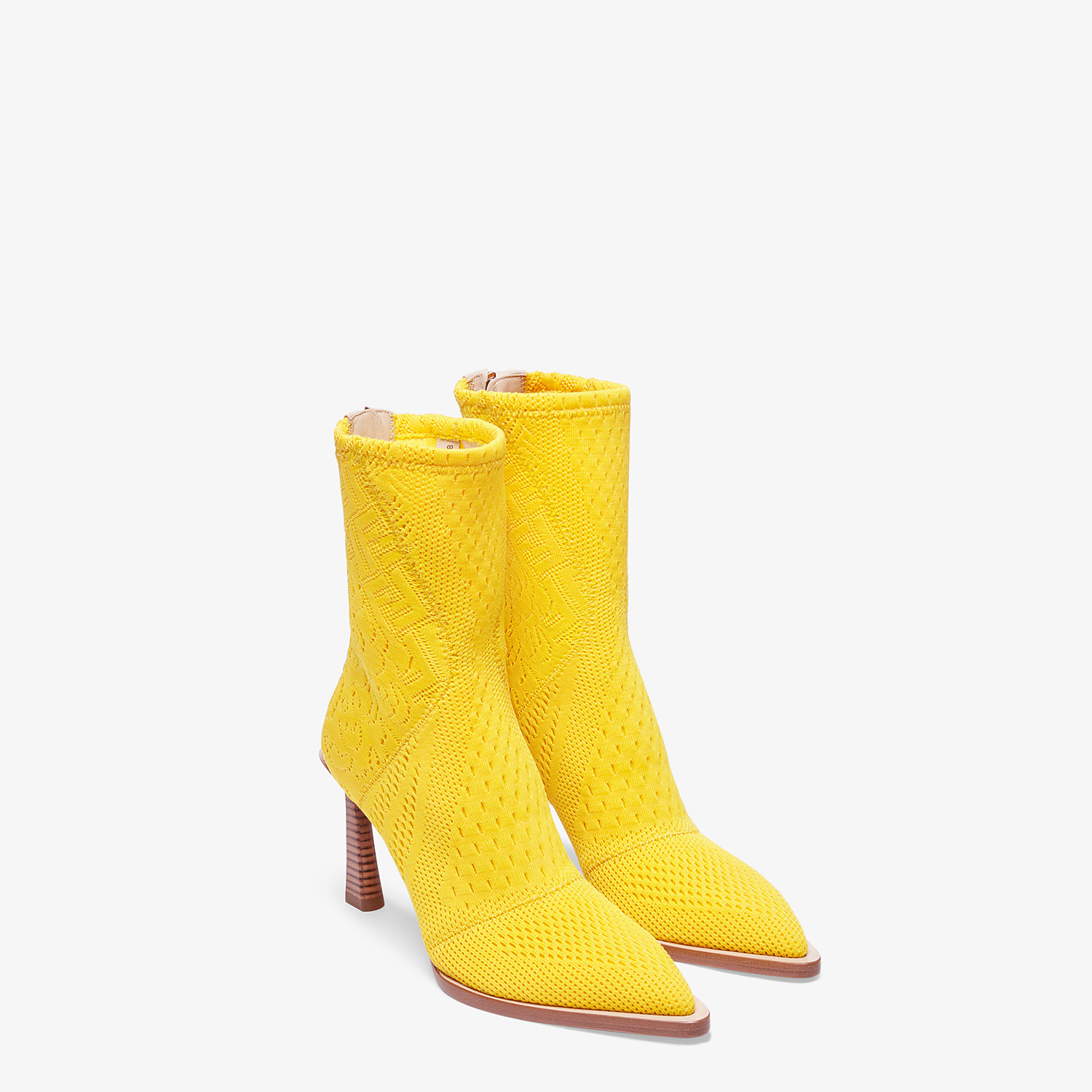 FENDI ANKLE BOOTS - High-tech yellow jacquard ankle boots - view 4 detail