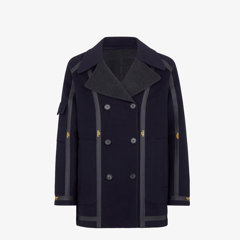 FENDI PEACOAT - Blue cashmere coat - view 1 detail