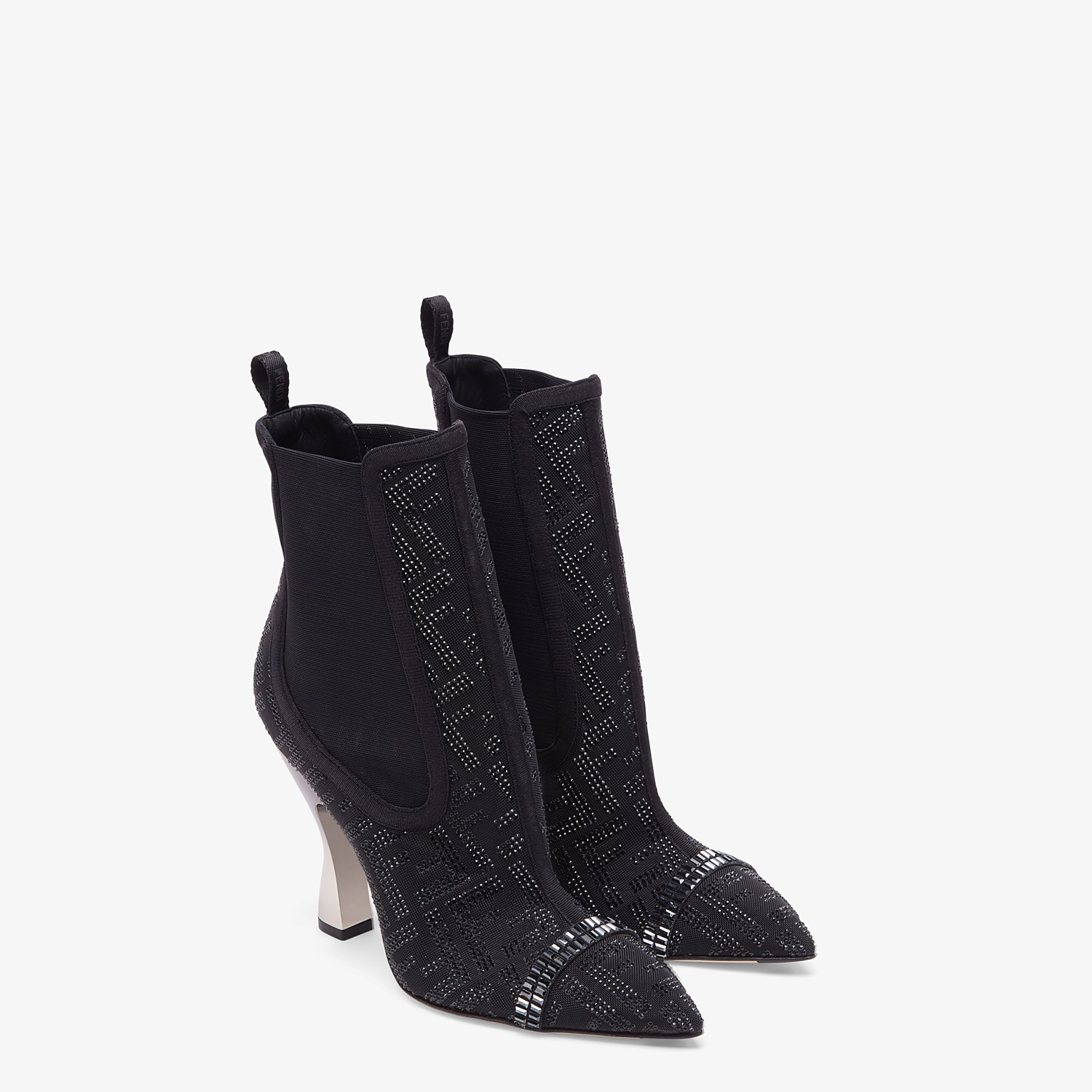 FENDI ANKLE BOOTS - Colibrì in black mesh - view 4 detail