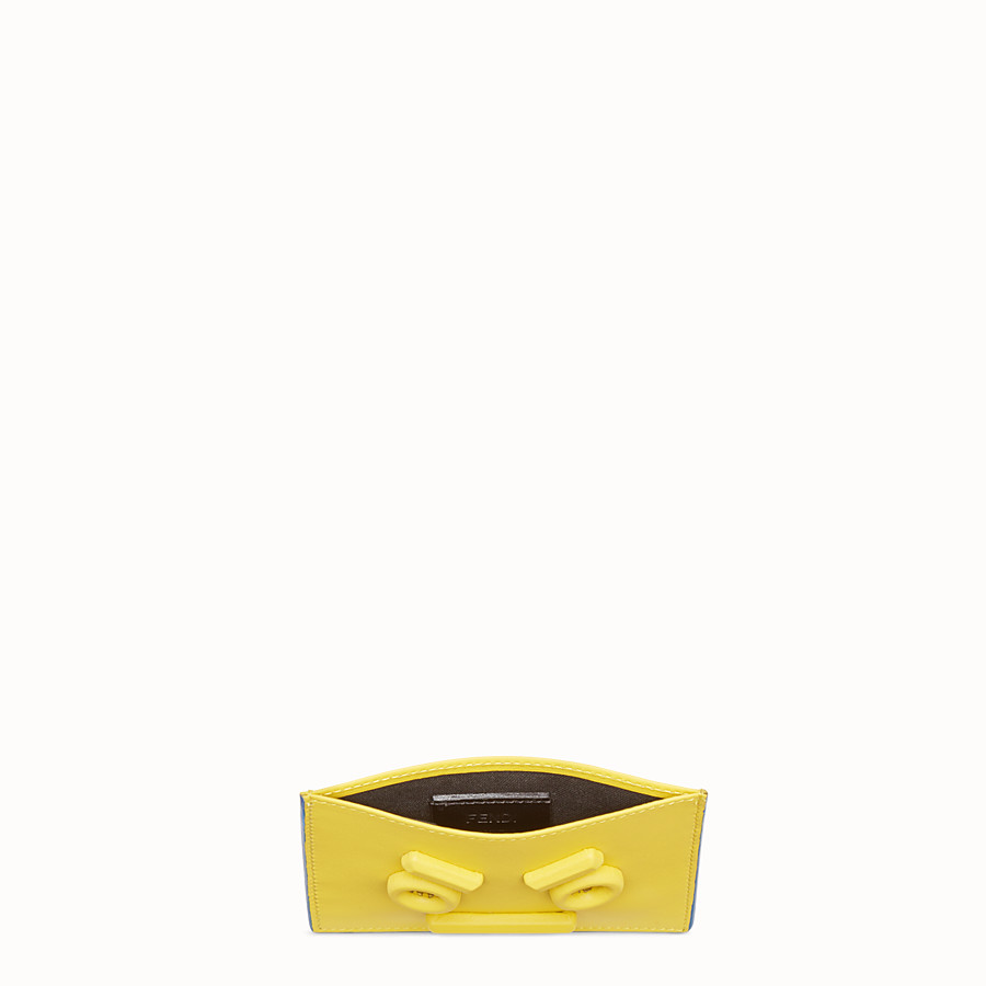 FENDI CARD HOLDER - Three-slot card holder in yellow leather - view 3 detail