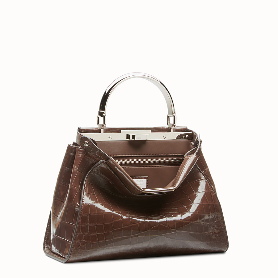 FENDI PEEKABOO REGULAR - Dark brown crocodile leather handbag. - view 2 detail